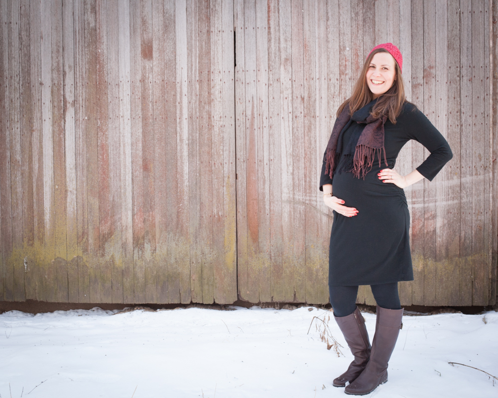 Maternity in Snow in front of Barn -Kansas City Photographer